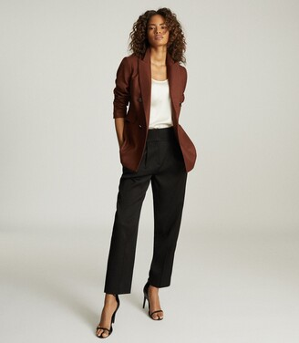 Reiss Finley - Double Breasted Twill Blazer in Tobacco