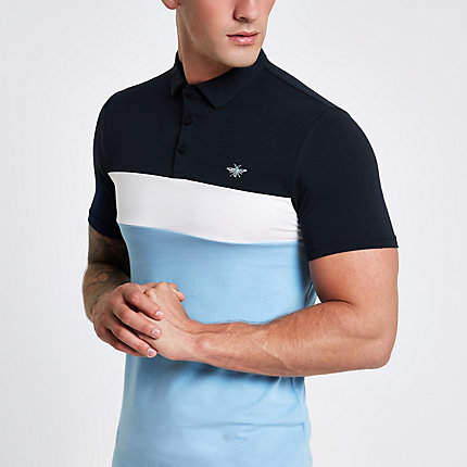 River Island Mens Blue block print muscle fit polo shirt