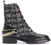 Lanvin embellished tweed biker boots