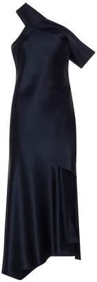 Navy Off-the-shoulder Slip Dress