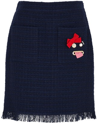 Boutique Moschino Navy embellished tweed mini skirt