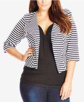 City Chic Plus Size Striped Blazer