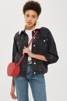 Topshop Womens Petite Washed Black Oversized Borg Jacket - Washed Black