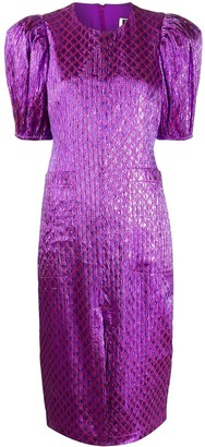 Rotate by Birger Christensen Geometric Print Midi Dress
