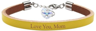 Genuine Leather Bracelet Made with Crystals From Swarovski by Pink Box Love You Mom Yellow