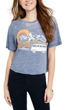 Rebellious One Juniors' California Cropped Graphic T-Shirt