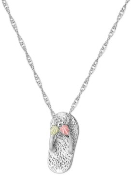 """Black Hills Gold Flip-flop Pendant 18"""" Necklace in Sterling Silver with 12K Rose and Green Gold"""