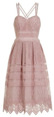 Dorothy Perkins Womens *Chi Chi London Mink Crochet Midi Skater Dress, Mink