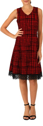 Donna Ricco Flocked Plaid Fit & Flare Dress