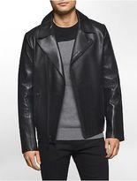 Calvin Klein Mens Premium Slim Fit Leather Biker Jacket