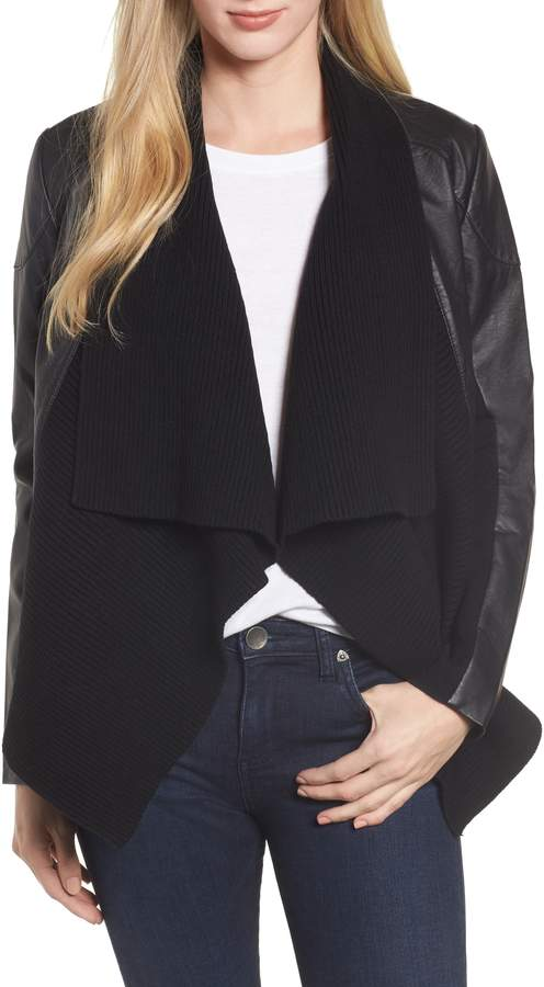 Caslon Ribbed Drape Front Faux Leather Jacket