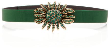 Oscar de la Renta Faille Waist Belt with Crystal Embellishment