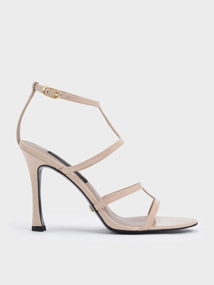 Charles & Keith Patent Leather Strappy Stiletto Heel Sandals
