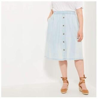 Joe Fresh Women+ Button-Front Skirt, Light Blue (Size 1X)