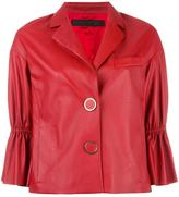 Drome three-quarters ruffled sleeves jacket - women - Leather/Acetate/Cupro - M