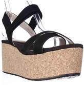DKNY Dnky Franca Cork Platform Wedge Sandals, Black.