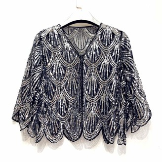zebrum Women's 1920s Evening Shrug Cape Sequin Shawl Wraps Beaded Flapper Cover Up Cloak Small/Slim Fit with Gift Box (Silver)