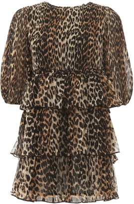Ganni Georgette Leopard Print Mini Dress