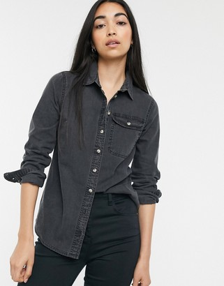 ASOS DESIGN denim shirt with pocket in washed black
