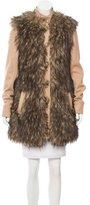 Rachel Zoe Faux Fur-Accented Wool Coat