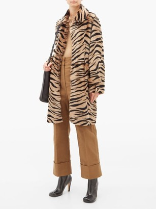 Giani Firenze Jillian Lungo Zebra Print Shearling Coat - Womens - Animal