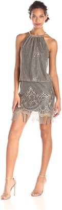 SL Fashions Women's Blouson Halter Crochet Dress