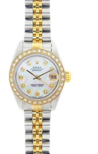 Rolex Datejust 69173 18K Yellow Gold & Stainless Steel Mother Of Pearl Dial 26mm Womens Watch
