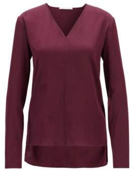 BOSS V-neck blouse in stretch silk with dropped back hem