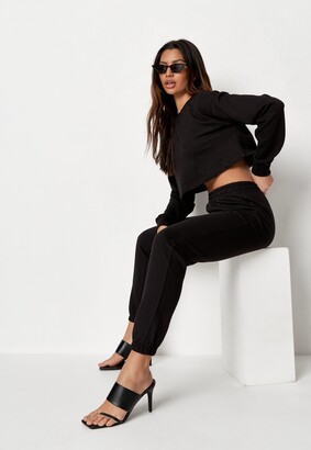 Missguided Black Cropped Sweatshirt And Joggers Co Ord Set