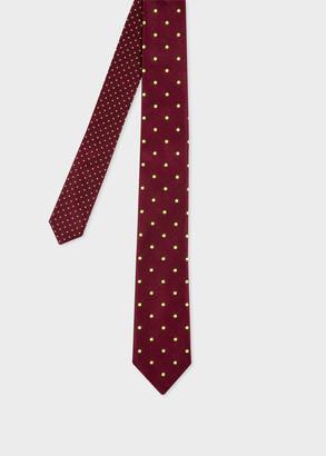 Paul Smith Men's Burgundy Tie With Fluorescent Spots