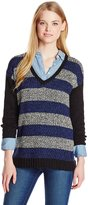 Kensie Women's Mixed Tape Yarn Striped Sweater