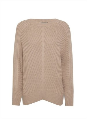 Dorothy Perkins Womens Taupe Batwing Sleeve Rib Neck Jumper