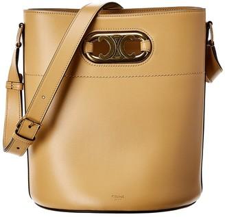Celine Maillon Triomphe Leather Bucket Bag