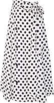 Lisa Marie Fernandez Diana Belted Polka Dot Linen Skirt