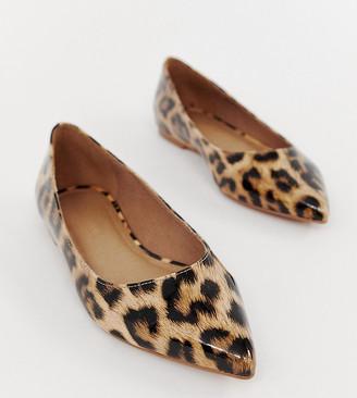 Asos Design DESIGN Latch pointed ballet flats in leopard print