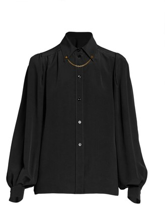 Givenchy Chain-Trimmed Silk Blouse