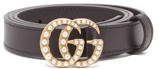 Gucci GG Faux-pearl-embellished Leather Belt - Womens - Black