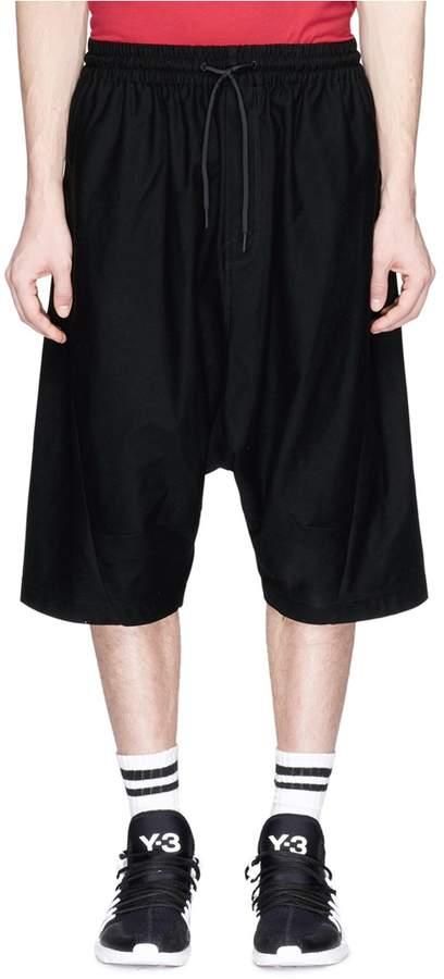 Y-3 'Sarouel' drop crotch twill shorts