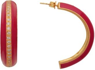 Carousel Jewels Gold & Pink Crystal Enamel Large Hoops