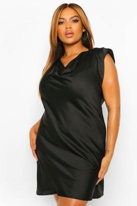 boohoo Plus Satin Shoulder Pad Shift Dress