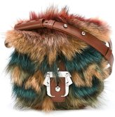 Paula Cademartori striped detail shoulder bag - women - Coyote Fur/Calf Leather - One Size