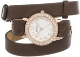 XOXO Women's XO5615 Brown Double Wrap Rhinestones Bezel Watch