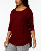 Charter Club Plus Size Cashmere Ribbed High-Low Sweater, Created for Macy's