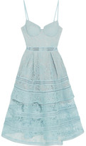 Self-Portrait Tiered Paneled Guipure Lace Dress - Sky blue