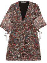 IRO Davia Gathered Printed Silk Crepe De Chine Mini Dress
