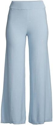 Sequin Wide-Leg Cotton Trousers