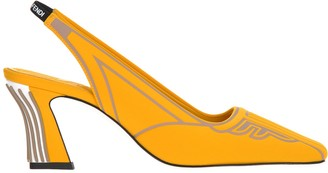 Fendi Slingback Square-Toe Pumps
