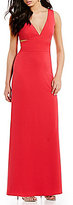 Laundry by Shelli Segal Low V-Neckline Sleeveless Cut-Out Gown