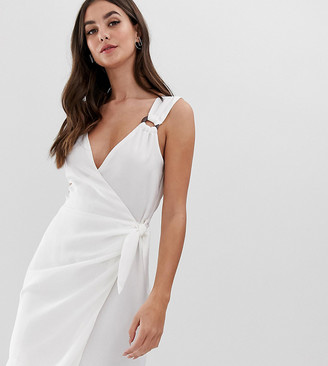 Fashion Union Tall wrap dress with wooden ring detail-White