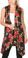 Brooke & Emma Women's Sweater Vests DT11 - Black & Red Floral Drape-Front Open Vest - Women & Plus